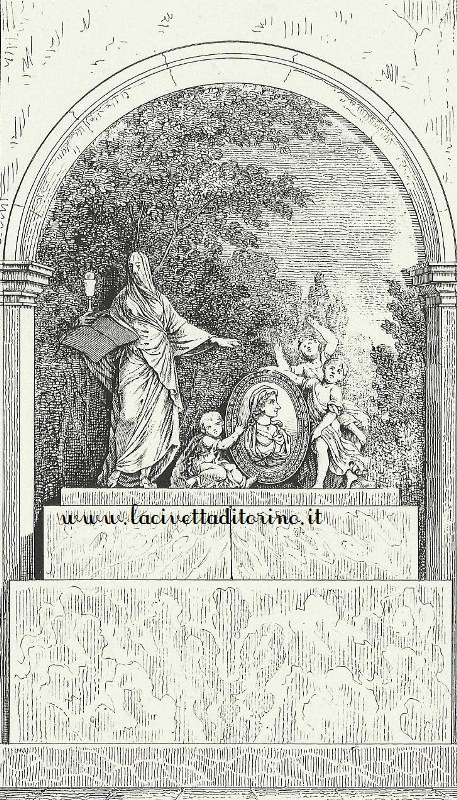 Litografia del monumento eseguita da Jean Junk, litografo francese, ma torinese d'adozione. Fu attivo a Torino dal 1840 con stabilimento litografico in Via Accademia delle Scienze 2. Morì nel 1872 e fu sepolto nella I ampliazione del Monumentale di Torino.
