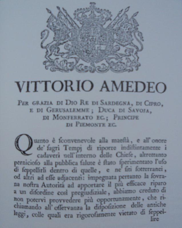 Decreto Regio del 25 novembre 1777. Immagine tratta dal libro Il Parco delle Mezze Lune