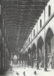 Interno Basilica di Santa Croce, incisione Luigi De Vegni, 1845