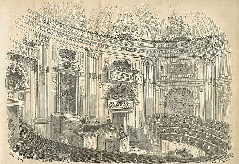Camera dei Deputati del Regno di Sardegna in Palazzo Carignano a Torino, 1852