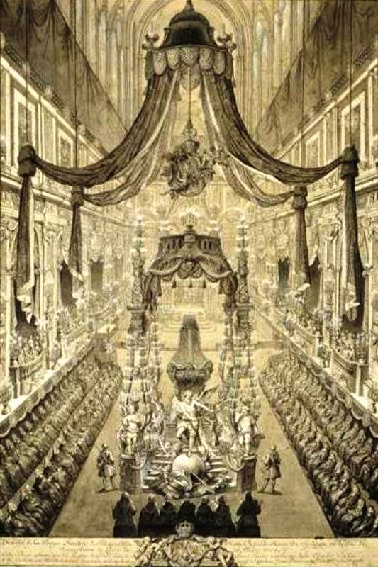 Esequie di Polissena a Torino, con apparati funebri disegnati da Juvarra
