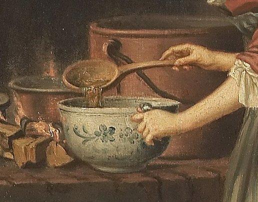 """Pehr Hilleström, """"Cameriera che travasa la zuppa dal paiolo"""", seconda metà 1700 (particolare)"""