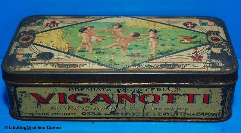 Scatola di latta della pasticceria Viganotti, 1900. Immagine tratta dal sito: www.ebay.it