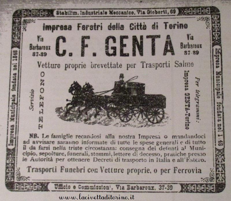 Pubblicità dell'impresa genta sulla guida Paravia di inizio 1900.