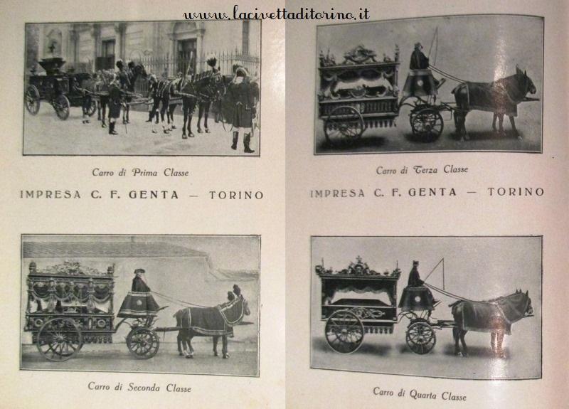 Carta dei servizi, Impresa Genta, prima metà 1900. Le carrozze funebri dalla I alla IV classe.