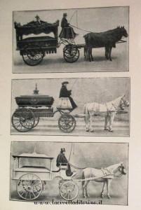Il carro di V classe e le carrozze per gli infanti. Dalla carta dei servizi della prima metà del 1900.