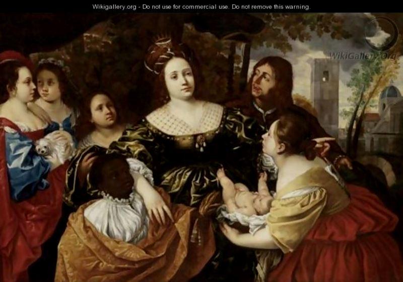 Francesco Cairo, La figlia del faraone accoglie Mosè salvato dalle acque, 1645, Galleria Sabauda di Torino. E' questo un presunto ritratto in costume di Filippo, raffigurato alle spalle di Cristina che rappresenterebbe la figlia del faraone.