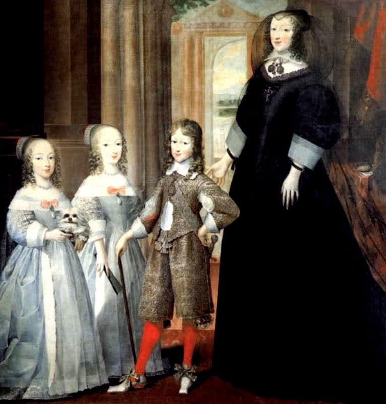 La duchessa Maria Cristina di Francia con i figli Carlo Emanuele, Margherita Violante ed Enrichetta Adelaide. Prima metà XVII secolo.