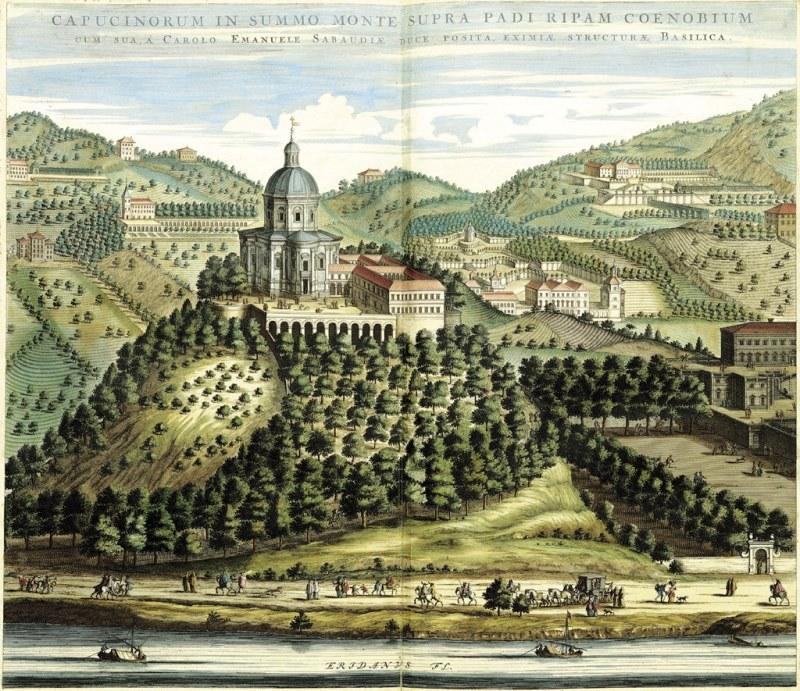 Il Monte dei Cappuccini nell'incisione del Theatrum Sabaudiae, 1682. Così doveva apparire la chiesa all'epoca di Filippo, ancora con la cupola in piombo, che fu poi inglobata nell'attuale durante l'Ottocento. Immagine tratta da www.museotorino.it
