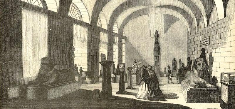 """Una sala del Museo Egizio. Dalla guida """"Dieci giorni a Torino"""" del 1831. Photo by www.museotorino.it"""