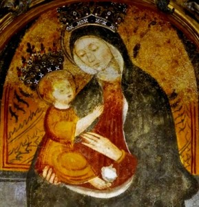 L'icona di Vicoforte. Sotto la mano della Madonna si vede il segno del proiettile