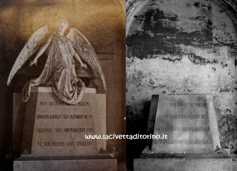 A sinistra l'immagine tratta dalla guida del cimitero di Torino del 1883 e a destra il piedistallo vuoto, com'è oggi. Spariti angelo e sarcofago. L'iscrizione fa riferimento a un passo del Salmo 90.