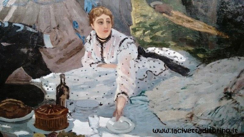 Monet, La Colazione sull'Erba (particolare), 1865-66. La fanciulla è Camille Doncieux, prima moglie di Monet.