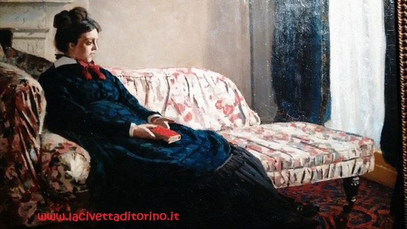 Monet, Meditazione. La Signora Monet sul Divano, 1871. Camille è ritratta in un momento di intima riflessione e tranquillità.