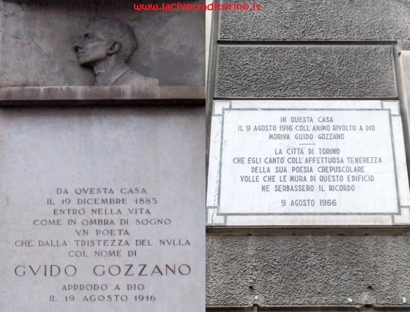 Epigrafi a Torino ricordano Gozzano: a destra Via Bertolotti 2, a sinistra Via Cibrario 65
