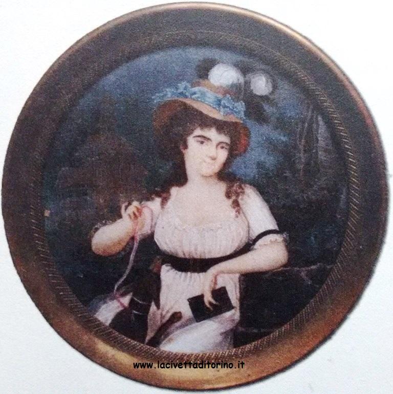 Teresa Pregliasco, miniatura con il ritratto di Joséphine e Werter, 1792-97, Castello di Masino (TO). Dal catalogo della mostra: Un giardino per Joséphine, 2007, Castello e Parco di Racconigi