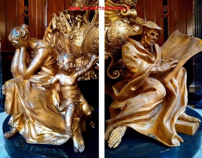 Particolari dei sarcofaghi dorati di Federico I e Sofia Carlotta.