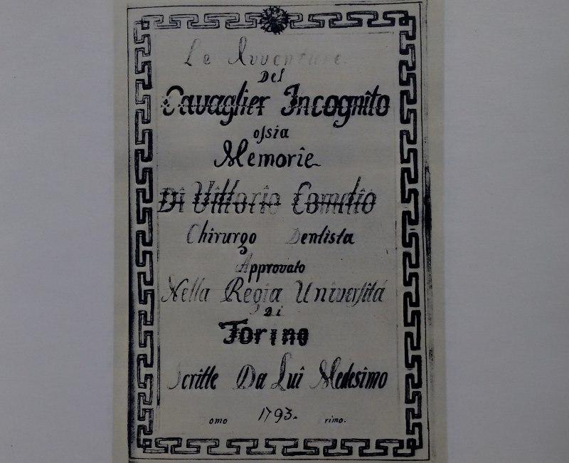 Frontespizio delle memorie di Vittorio Cornelio