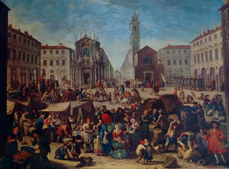 Michele Antonio Graneri, Mercato in Piazza San Carlo, 1752, Museo Civico di Arte Antica Torino