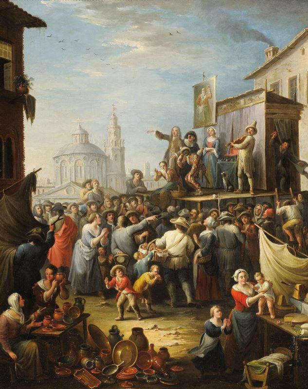 Michele Antonio Graneri, Saltimbanchi, 1742, Galleria Giambianco. Immagine da www.anticoantico.com